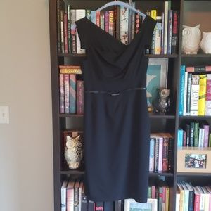 Black Halo asymmetrical bodycon dress, sz 10